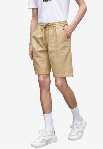 URBAN REVIVO brown Linen Blend Shorts 3B7B6AACED79EEGS_1