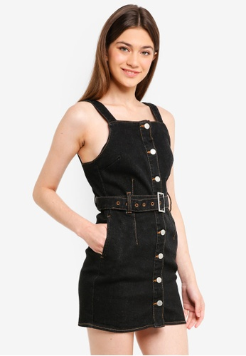 Miss Selfridge black Petite Black Denim Button Pinny Dress 6934EAAD74BA52GS_1
