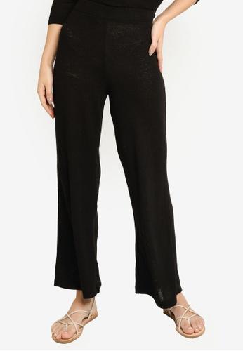 H&M black Fine-knit Trousers 47880AA8E68421GS_1