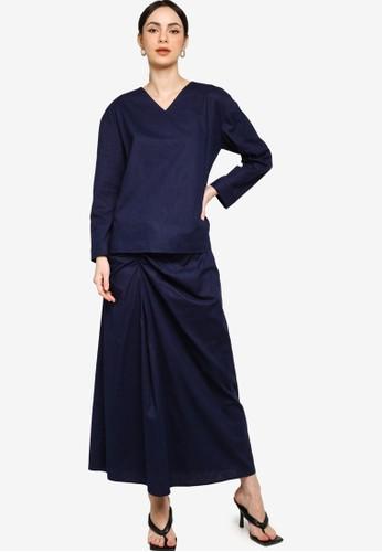 ZALIA BASICS navy V-Neck Top With Gathered Skirt Set 446BDAAA941D4DGS_1