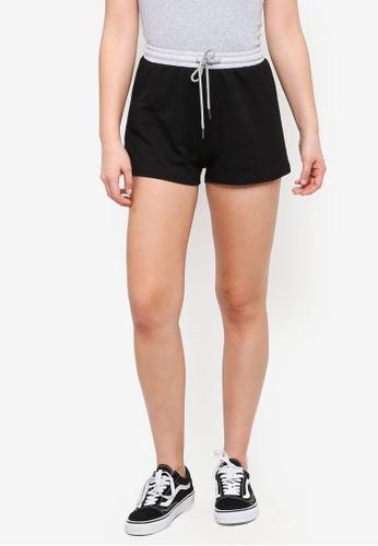 Something Borrowed black Contrast Waistband Drawstring Shorts 4926CAA99C17B9GS_1