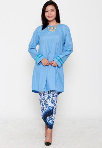 Naphthys Collection blue Syakila Tunic with Striped Sleeves NA003AA72WRJSG_1
