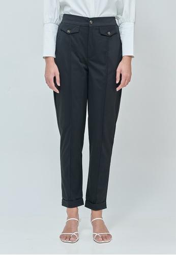 MC Vogue black Daphne Black Button Straight Pants DC140AA67B52FCGS_1