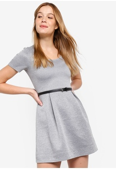 12cc20a021 58% OFF ZALORA BASICS Basic Scoop Neck Fit And Flare Dress With Belt S   39.90 NOW S  16.90 Sizes XS S M L XL