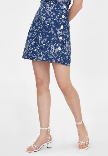 Pomelo blue Purpose Beach Print Frill Button Up Skirt - Navy B7E98AAC38B0C6GS_1