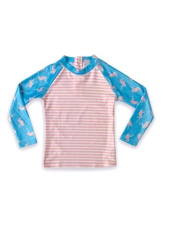 August Society multi Waikiki Kid's Rash Guard - Flamingo/Pink Stripe C3FB2KA4DFC0B1GS_1