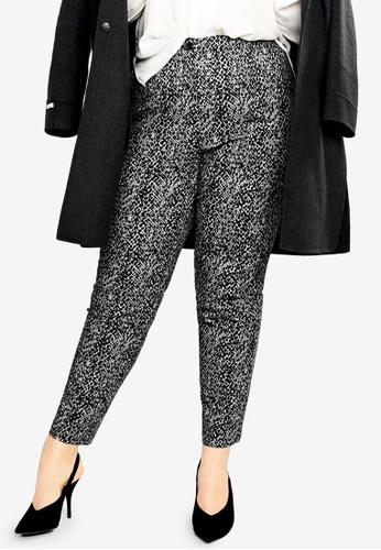 0260d77660fb Violeta by MANGO black Plus Size Snake Print Cotton Trousers  7D15DAA8AADB31GS_1