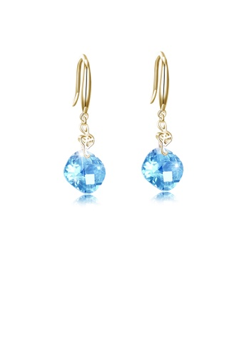Glamorousky blue 925 Sterling Silver Plated Champagne Gold Fashion Geometric Square Blue Cubic Zircon Earrings 82311AC2151D09GS_1