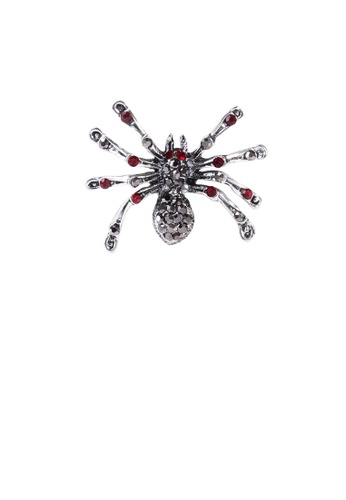 Glamorousky black Simple Personality Spider Brooch with Red Cubic Zirconia B6187AC3E49C27GS_1