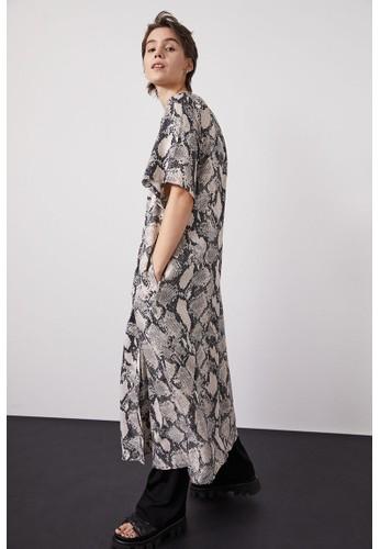 H&M beige Tie-belt dress F628AAA8E57611GS_1