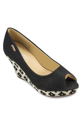 露趾印花楔型跟鞋, 女zalora 台灣鞋, 厚底楔形鞋