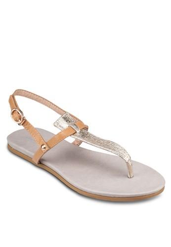 zalora 折扣碼亮面T字帶繞踝涼鞋, 女鞋, 鞋