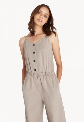 b5e07803e358 Buy Pomelo Cami Button Up Jumpsuit - Mid Grey Online