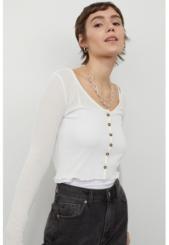 H&M white Fitted cardigan 2DD78AA2D1604DGS_1