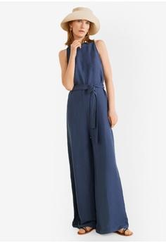 f011021b89b Mango blue Bow Linen Jumpsuit 37527AAA4089B2GS 1