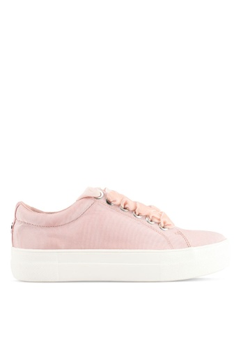 TOPSHOP pink Captain Velvet Lace Up Platform Trainers 851D4SH2A30639GS_1
