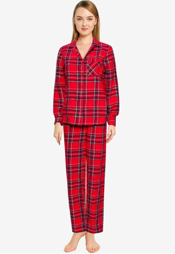 MISSGUIDED red Traditional Check Flannel Pyjama Set 5ED26AADE69459GS_1