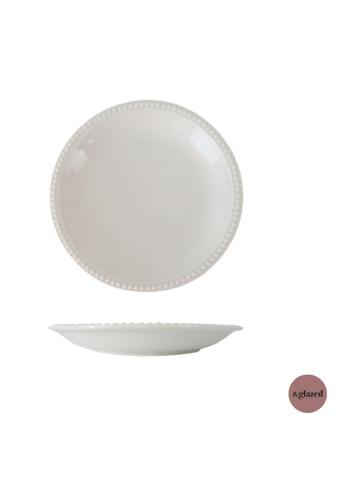 &glazed white &Glazed Chaste 8-inch medium round plate Ivory 96F45HL9D63720GS_1