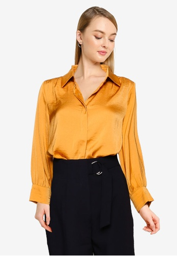 FORCAST yellow Eliza Button-Up Shirt Blouse ADDA1AA9A5D57BGS_1