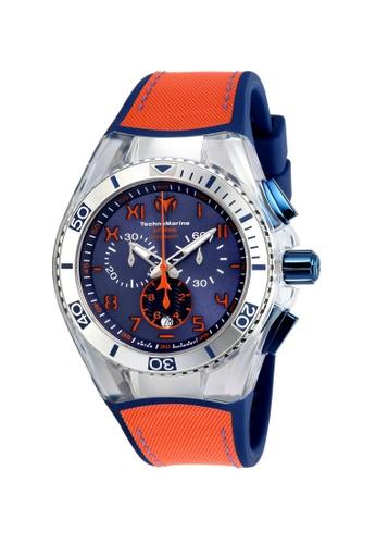 TECHNOMARINE orange and blue Technomarine Cruise Men 46.65mm Case Blue, Orange Silicone, Canvas Strap Blue, Orange Dial Quartz Watch TM-115012 TE359AC0F5C7SG_1