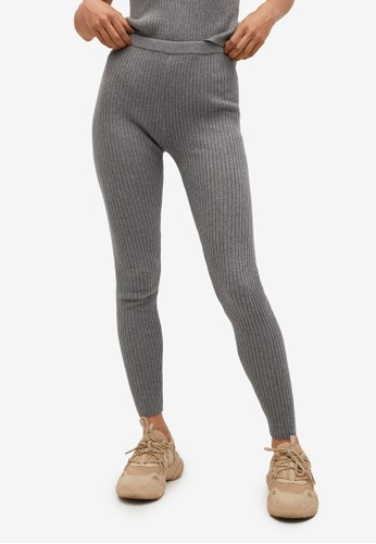 Mango grey Ribbed Knit Trousers F5699AA4718806GS_1