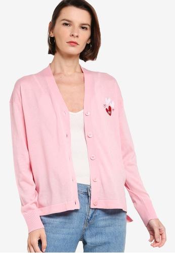 ck Calvin Klein pink VALENTINE ORGANIC COTTON CARDIGAN 8E5C4AA0D619EEGS_1