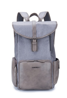 """6e4dfc0da108 ENZODESIGN grey ENZODESIGN G.T. Leather Trim Two tone Polyester Flaptop 15"""" Laptop  Backpack C2A58AC1FD4F97GS 1"""