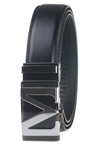FANYU black Leather Dress Belt With Automatic Buckle FA549AC0GYI8SG_1