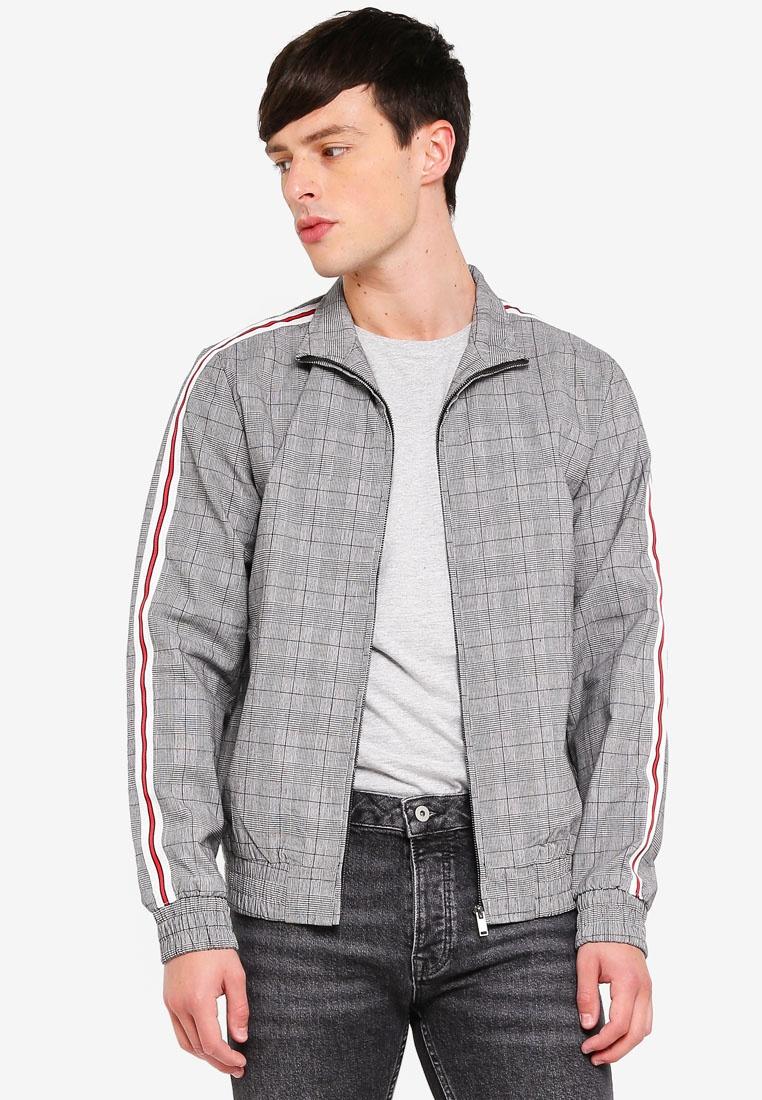 b2d397f08 Checked Grey Dark Side Grey Harrington Jacket Stripe Topman 5AxxBrw ...
