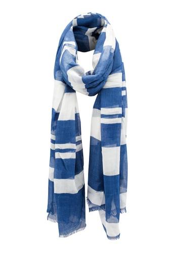 Dressing Paula navy Stripe Patterned Rectangle Scarf With Frayed Hem 96075AA753DD3BGS_1