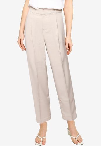 LOWRYS FARM grey Pleated Straight Cut Pants 72B23AAAEE51C9GS_1
