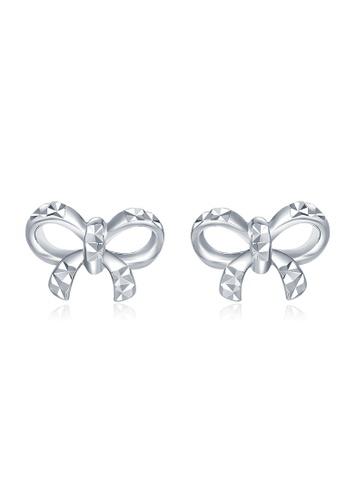 MaBelle silver 14K White Gold Ribbon Bow Stud Earrings MA584AC23IGQHK_1