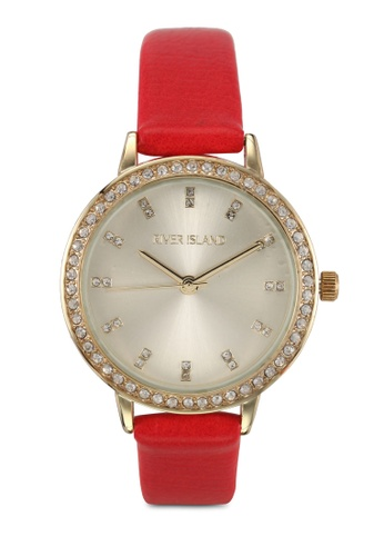 River Island red Red Pu Sunray Diam Watch with Gold Plating 656CEAC074A2BEGS_1