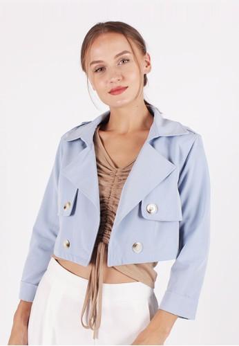 MAGNOLIA blue Crop Buttoned Blazer A7DFDAAE682DEAGS_1