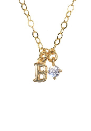 PSYNDROME gold Personalised Initial Letter Alphabet with Cubic Zircona Necklace - B 9ED0EAC9C0B30EGS_1