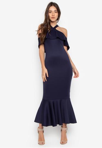 Shop Ashley Collection Halter Ruffle Hem Maxi Dress Online on ZALORA ...