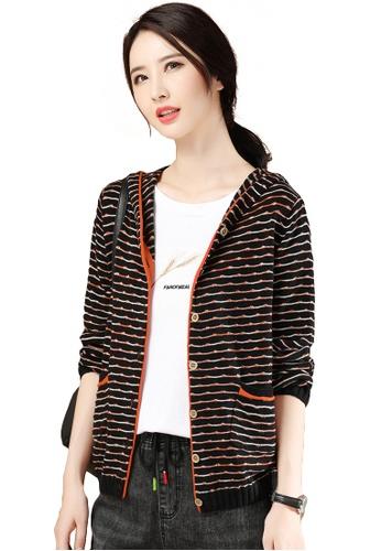 A-IN GIRLS 黑色 and 橘色 拼色條紋連帽針織外套 96DA2AA4C5B802GS_1