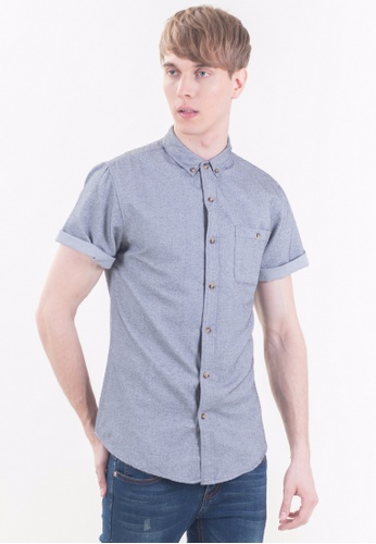 Drum Slim Fit Short Sleeve Shirt-GRY DR425AA09RPMMY_1