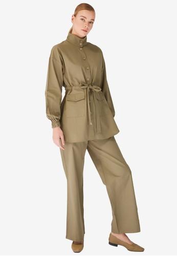 Trendyol green Khaki Jacket Set 648C8AA75CD954GS_1