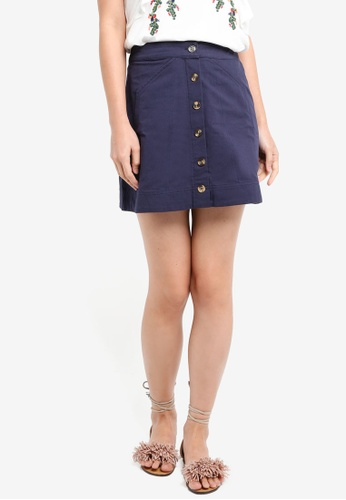 ZALORA navy Mini Skirt With Stitching Details 6112CAA8C524FDGS_1