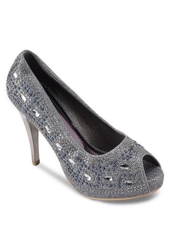 OCCASION 魚口露趾亮片厚底esprit outlet高跟鞋, 女鞋, 魚口鞋