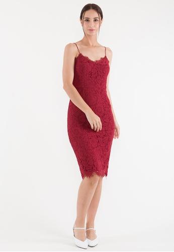 Plain B. red Plain B. Single Strap V-Neck Evening Midi Dinner Dress With Lace&Lining 9469BAA9A04A2CGS_1