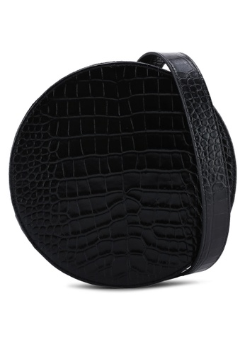 Pop & Suki black Circle Bag With Noir Embossed Croc 394CFAC48B7C7CGS_1