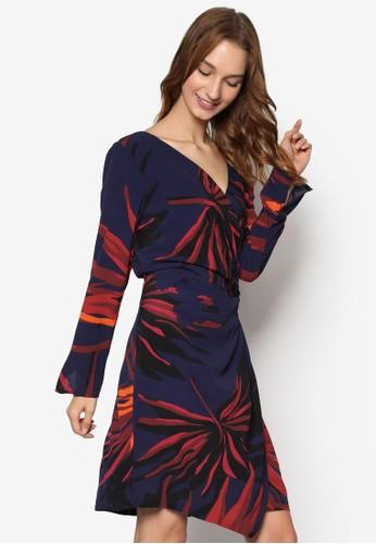 裹飾印花長esprit服飾袖連身裙, 服飾, 洋裝
