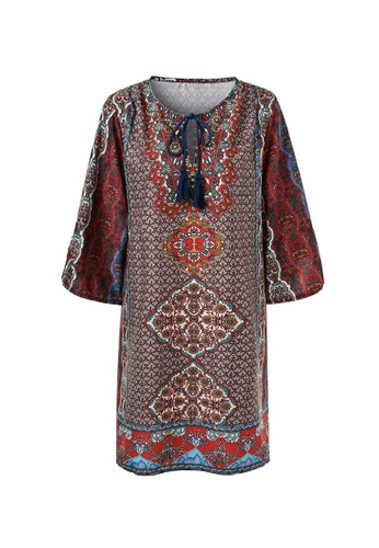 hk-ehunter multi Geometric Pattern V Neckline Tassel Ethnic Chiffon Mini Dress 6159CAA7EC5E52GS_1