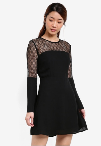 Something Borrowed black Stud Detail Lace Panelled Dress 82A44AA652E83BGS_1