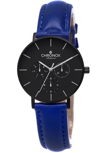 CHRONOX blue CHRONOX CX1006/A5 Full Black - Jam Tangan Wanita Casual -Tali Biru- Genuine Leather Strap F0D82ACAC2E752GS_1