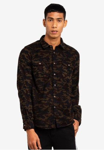 Brave Soul brown Camo Long Sleeve Shirt 675B0AA7ECC6DEGS_1