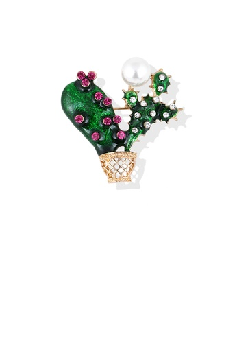 Glamorousky white Fashion and Elegant Plated Gold Cactus Imitation Pearl Brooch with Cubic Zirconia FCB6BACF9047B3GS_1