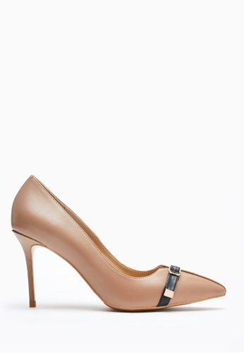 PAZZION brown Front Buckle Heels 5A676SHA9CFE26GS_1